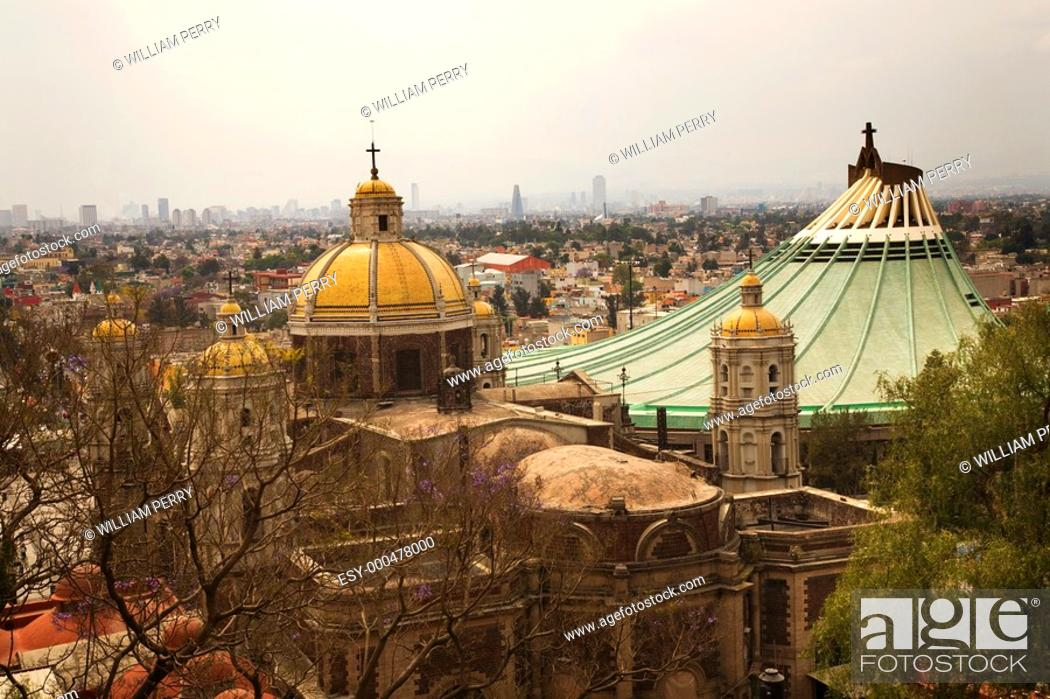 Stock Photo: Old and New Basilicas, Shrine of the Guadalupe, Mexico City This is the place were the Virgin Mary appeared to the Indian Peasant Juan Diego in 1531.