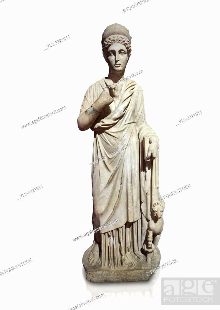 Stock Photo: Roman statue of Nemesisgoddess of retribution. Marble. Perge. 2nd century AD. Inv no 28. 23. 79. Antalya Archaeology Museum; Turkey.