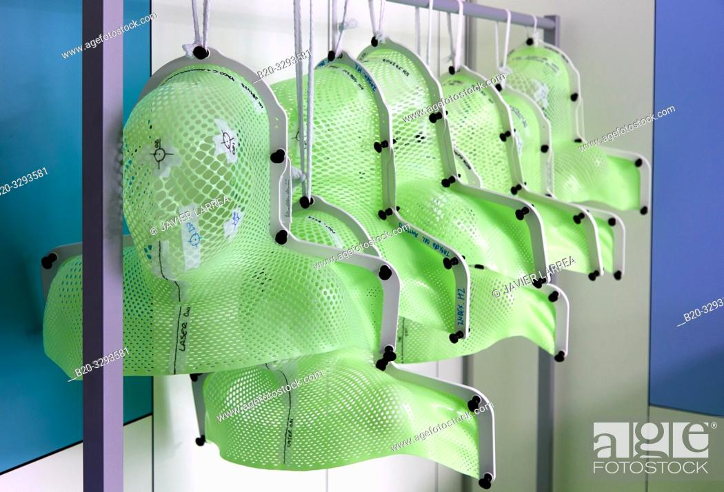 Stock Photo: Radiation therapy masks, Radiotherapy, Oncology, Hospital Donostia, San Sebastian, Gipuzkoa, Basque Country, Spain.