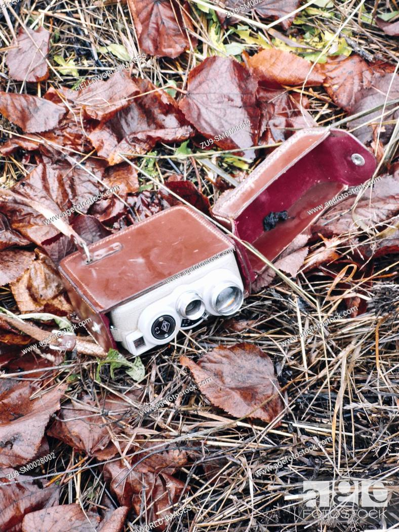 Stock Photo: Retro vintage movie camera in leather red velvet lined case lying on ground amongst autumn leaves, Sweden.
