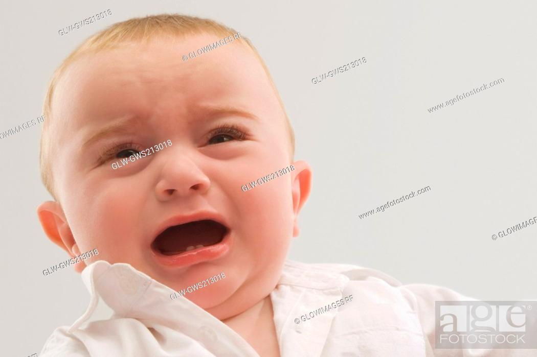 Stock Photo: Close-up of a baby boy crying.