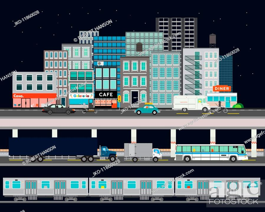 Stock Photo: City street with various modes of transport.