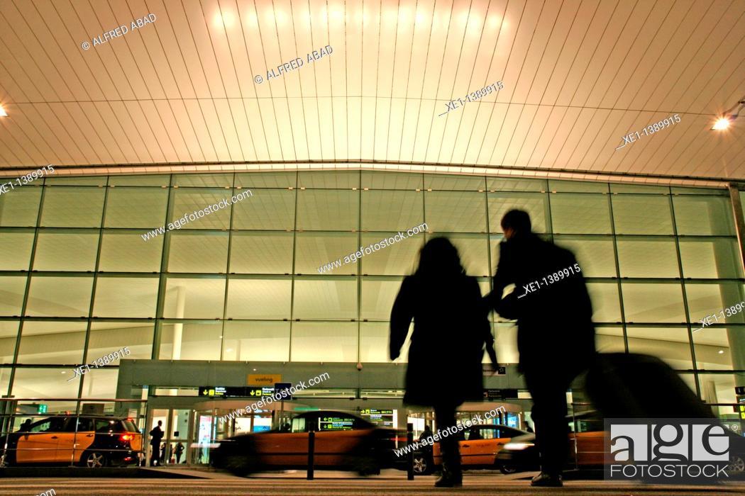 Stock Photo: crosswalk, el Prat's airport, Barcelona, Catalonia, Spain.