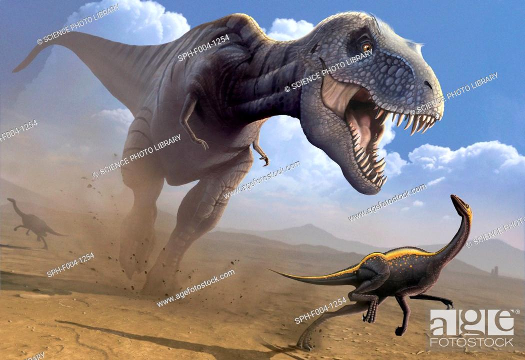 Photo de stock: Computer artwork of a Tyrannosaurus rex dinosaur hunting an Ornithomimus dinosaur. T. rex was among the largest carnivorous dinosaurs.