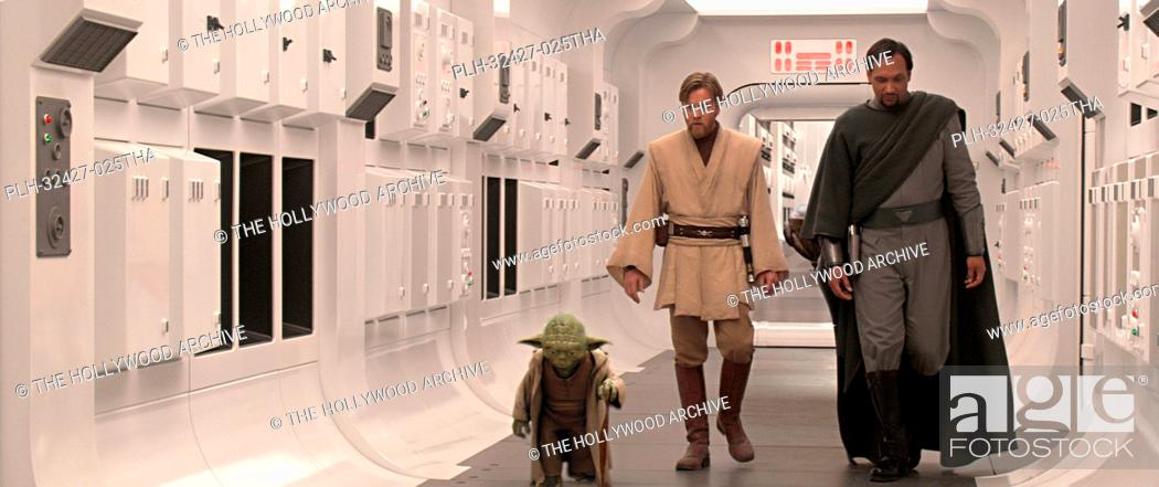 Stock Photo: Yoda, Obi-Wan Kenobi (Ewan McGregor) and Senator Bail Organa (Jimmy Smits) ponder the rise of the Empire as they walk down the corridor of the Tantive IV in.