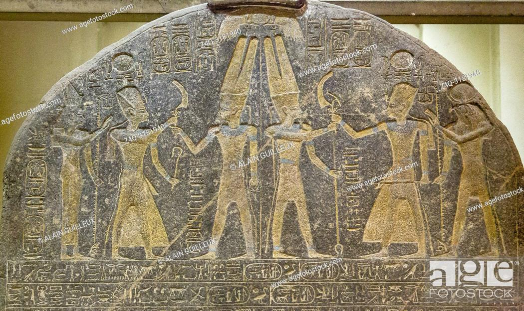 Stock Photo: Egypt, Cairo, Egyptian Museum, upper part of the stele of Merenptah, famous because it shows the first mention of Israel.