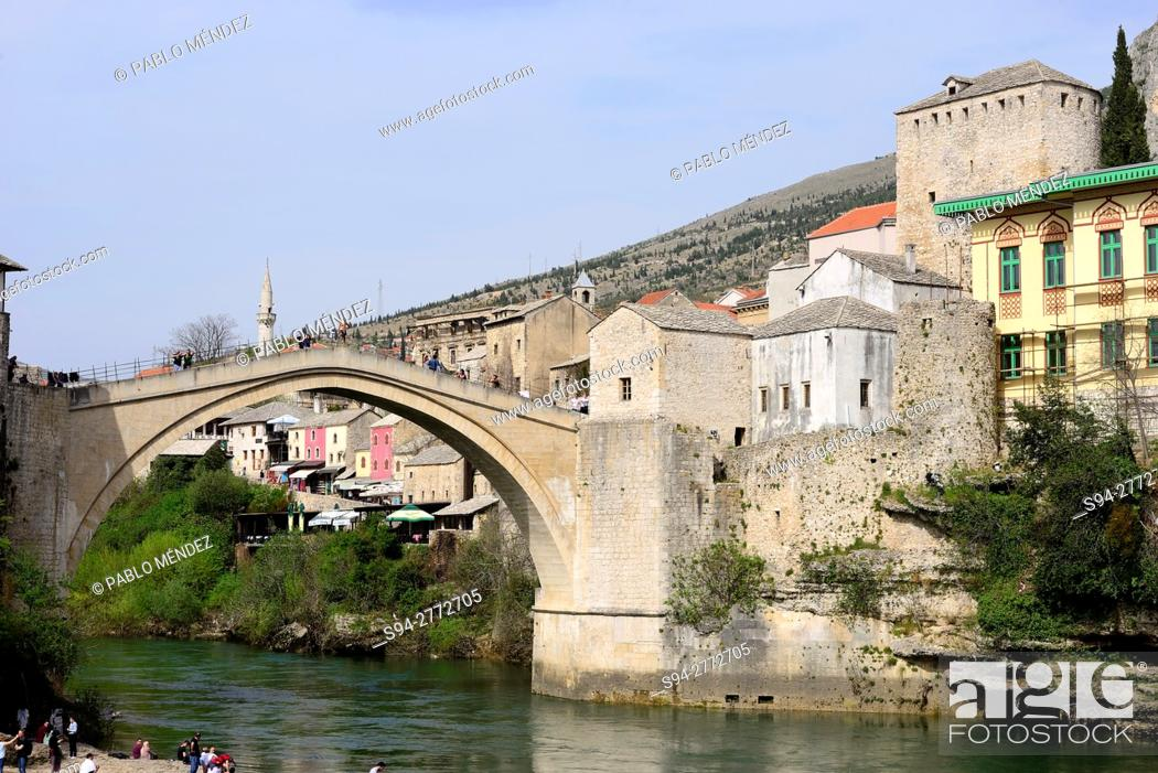 "Stock Photo: Old bridge """"Stari Most"""" and Neretva river in Mostar, Bosnia and Herzegovina."