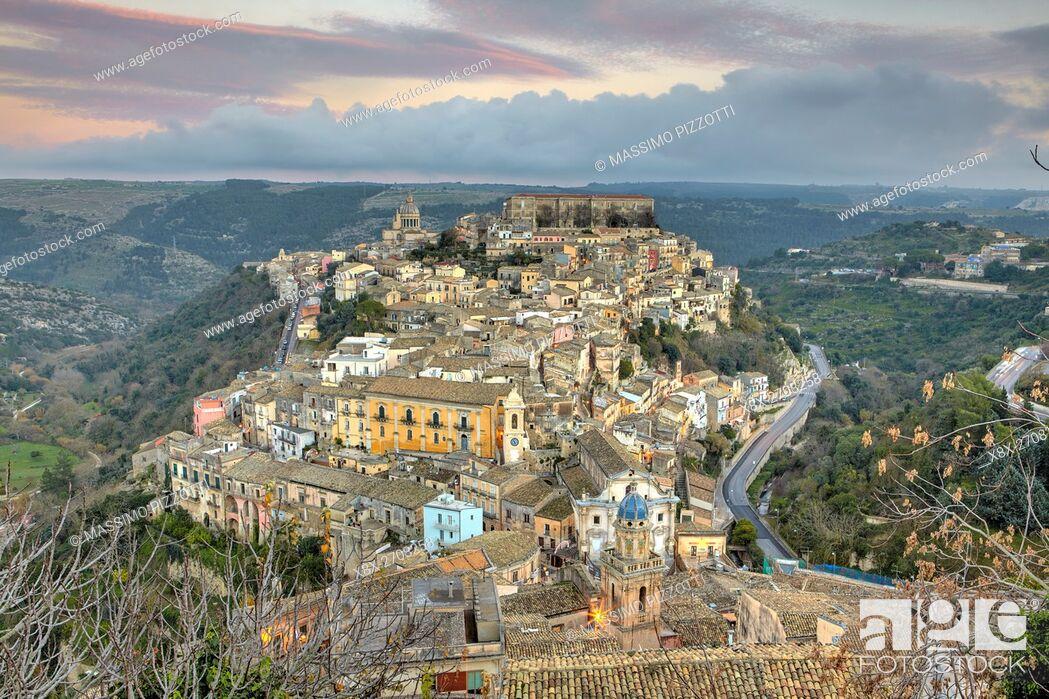 Stock Photo: Cityscape of Ragusa Ibla at dusk, Sicily, Italy.