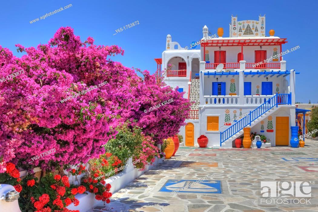 Stock Photo: colored house on Mykonos, Greece.