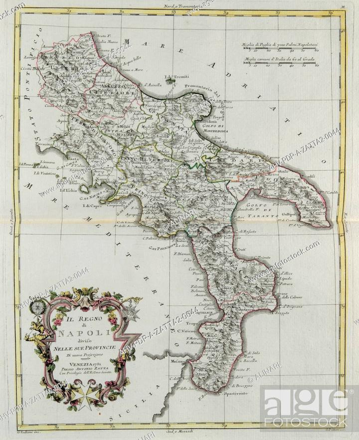 Imagen: Kingdom of Naples divided into its provinces, engraving by G. Zuliani taken from Tome II of the Newest Atlas published in Venice in 1781 by Antonio Zatta.