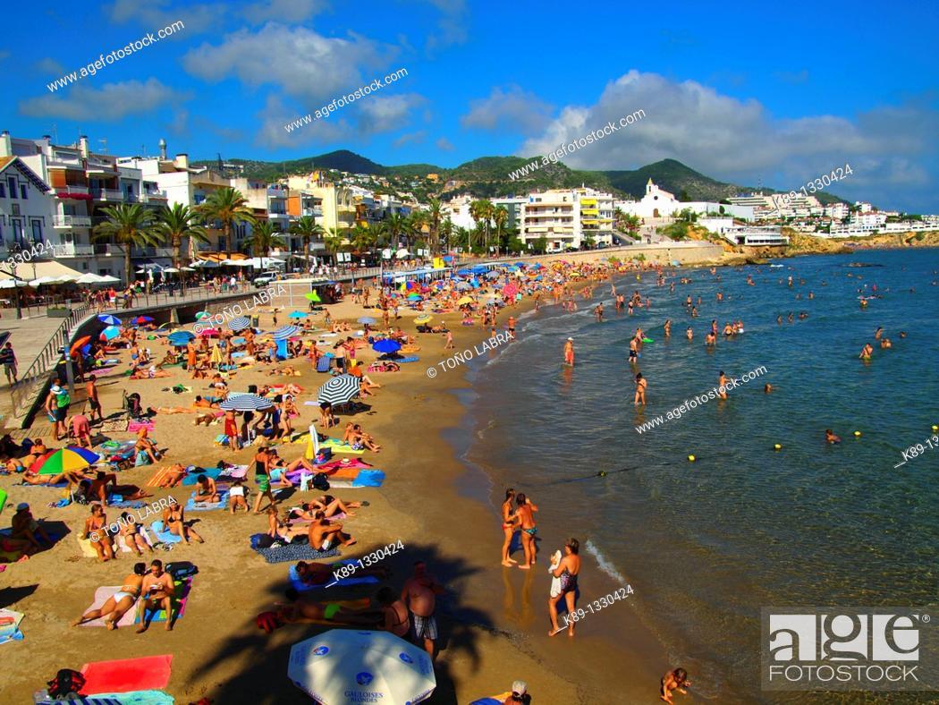 Stock Photo: Sant Sebastià beach. Sitges. Catalunya. Spain.