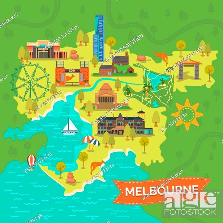 Stock Vector: Map of melbourne with Shrine of Remembrance, Captain Cooks Cottage, Eureka tower, Royal gardens, star or ferris wheel, Port Phillip Bay, Dandenong park.