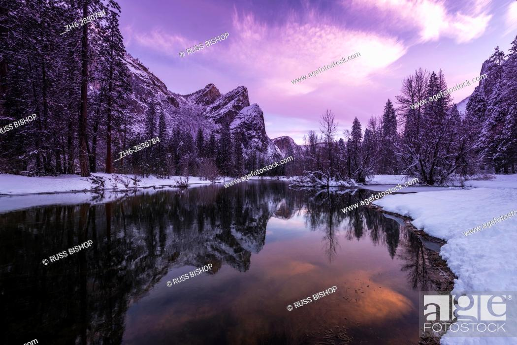 Stock Photo: The Three Brothers above the Merced River in winter, Yosemite National Park, California USA.