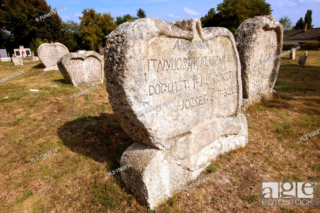 Stock Photo: Early 19th century grave stone of the Balatonudvari cemetary - Balaton Hungary.