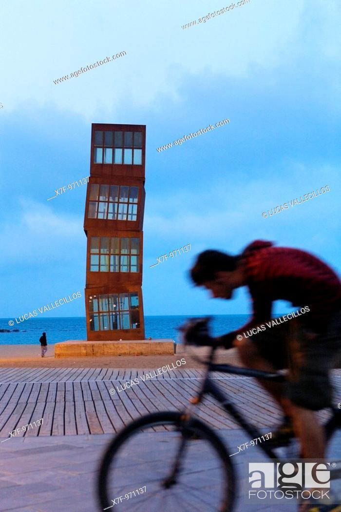 Stock Photo: Barcelona: Rebecca Horn's sculpture 'The Wounded Star' L'Estel Ferit on Barceloneta Beach  As seen from Passeig Maritim de la Barceloneta.
