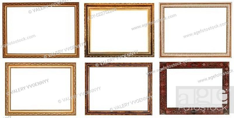 Stock Photo: set of wide retro wooden picture frames.
