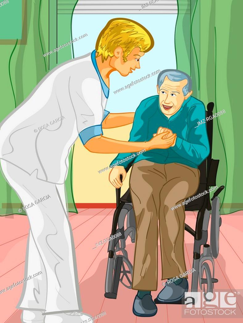 Stock Photo: A health care worker assisting an elderly man out of a wheel chair.