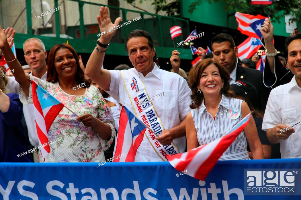 Stock Photo: 61st Annual National Puerto Rican Day Parade in New York City. Featuring: Letitiia James, Governor Andrew M. Cuomo Where: New York City, New York.