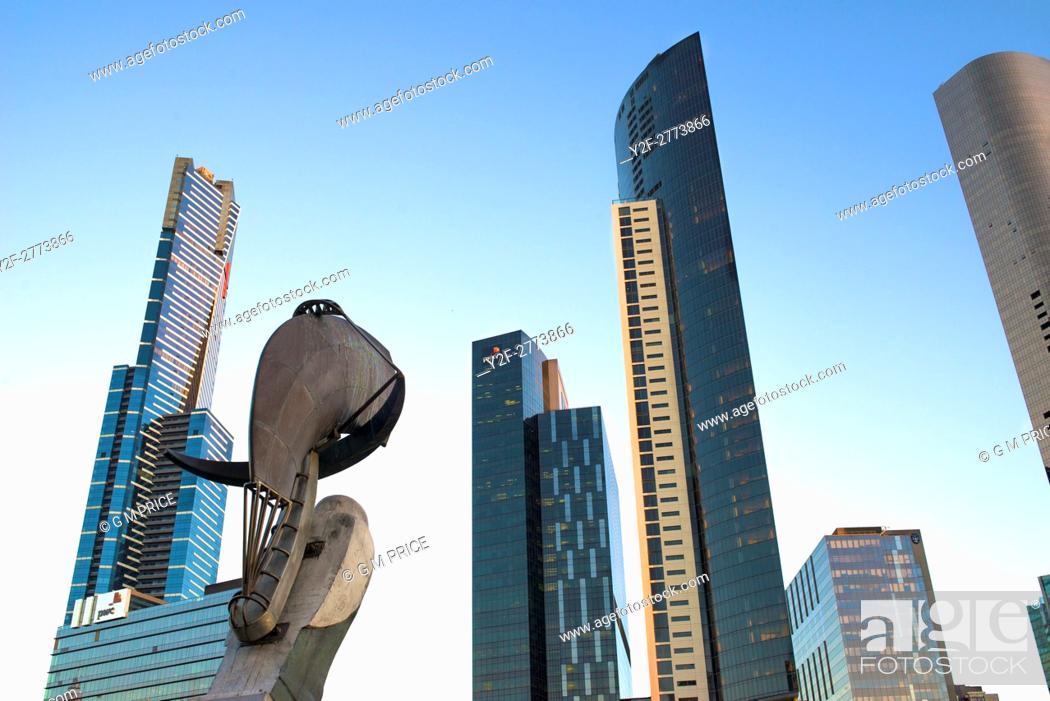 Stock Photo: Southbank skyline, Melbourne, with part of Constellation sculpture by (by Bartlett and Armstrong).