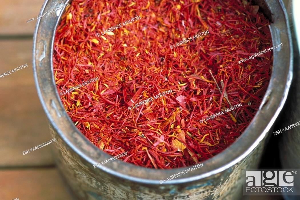Stock Photo: Saffron in container, close-up.