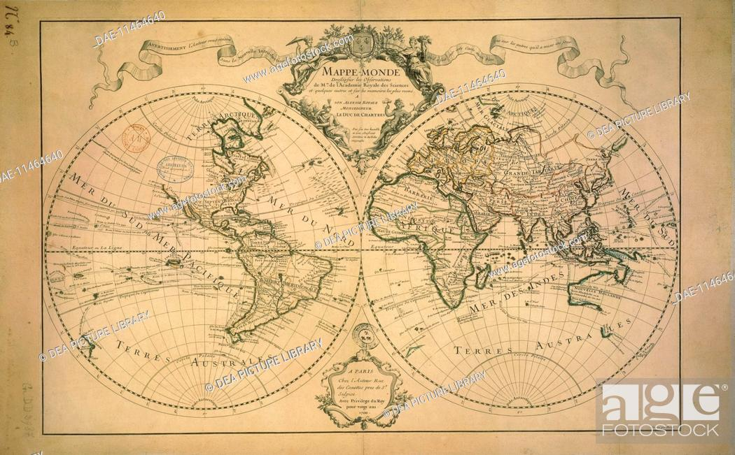 Cartography 18th Century World Map Drawn From Observations Made At
