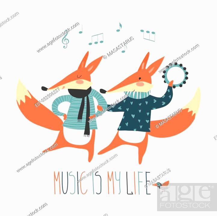 Stock Vector: Cute cartoon fox. Cheerful dancing foxes on a white background. Music in my head.