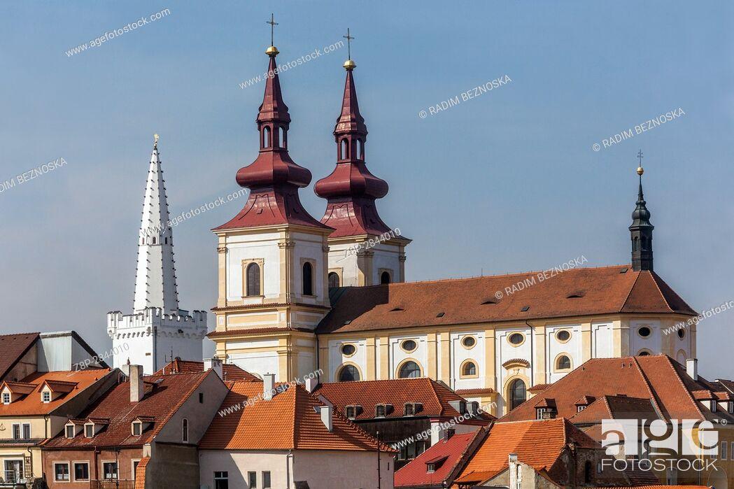 Stock Photo: Decanal Church of the Exaltation of the Holy Cross, Kadan, Northern Bohemia, Czech Republic, Europe.