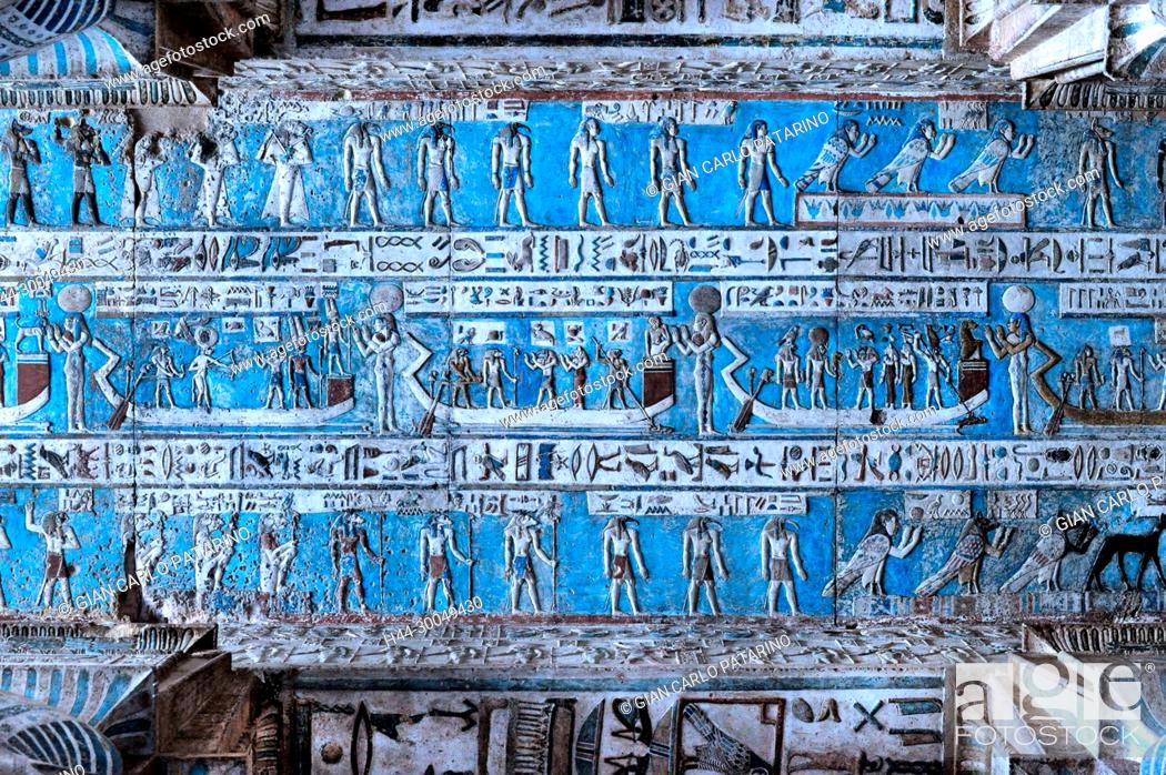 Stock Photo: Dendera Egypt, ptolemaic temple dedicated to the goddess Hathor. Carvings on the ceiling recently cleaned.