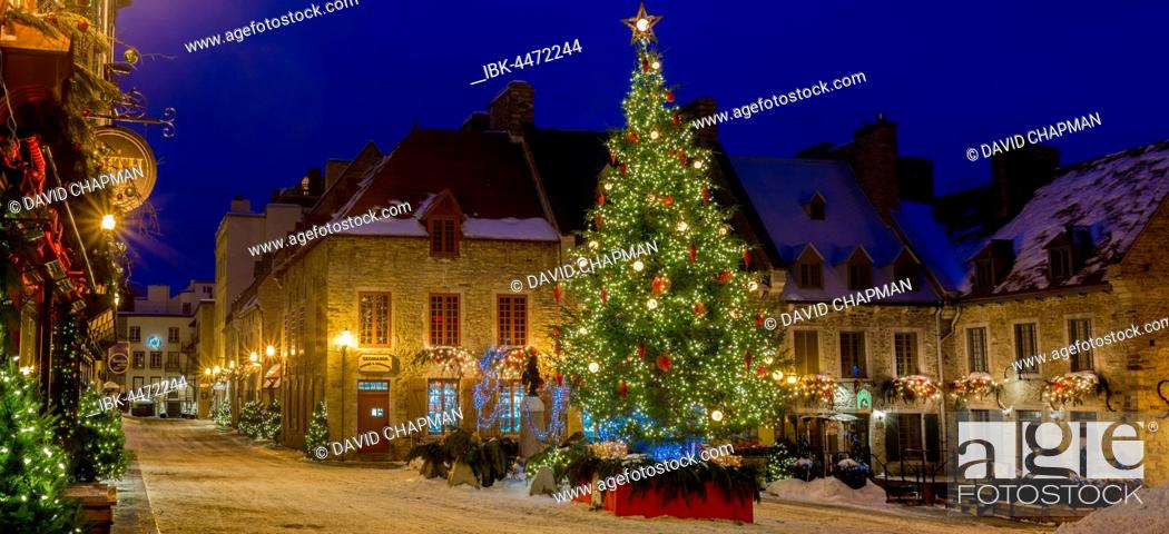 stock photo christmas decorations on the streets old lower town place royale quebec city quebec canada