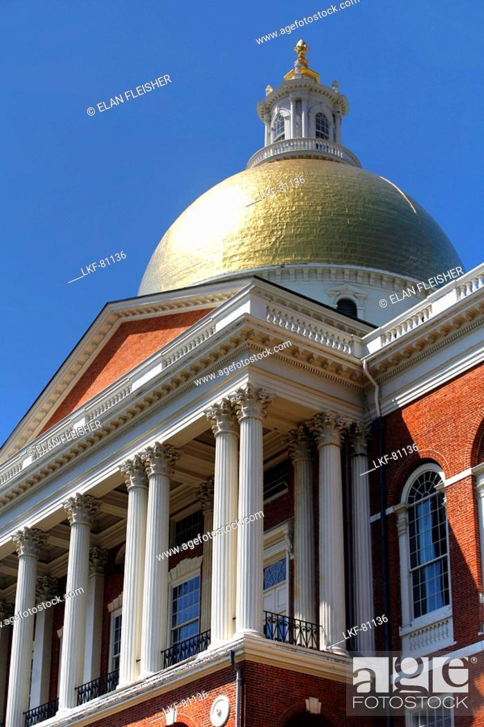 Stock Photo: Dome of the city hall, State House, Boston, Massachusetts, USA.