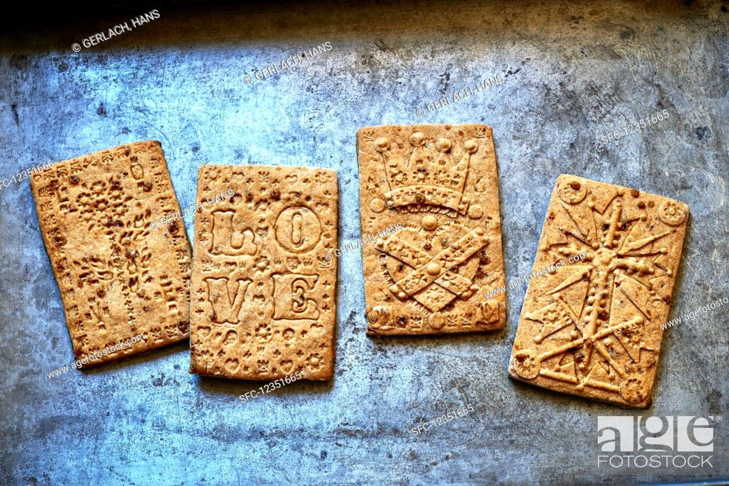 Different Spiced German Spekulatius Cookies Stock Photo Picture