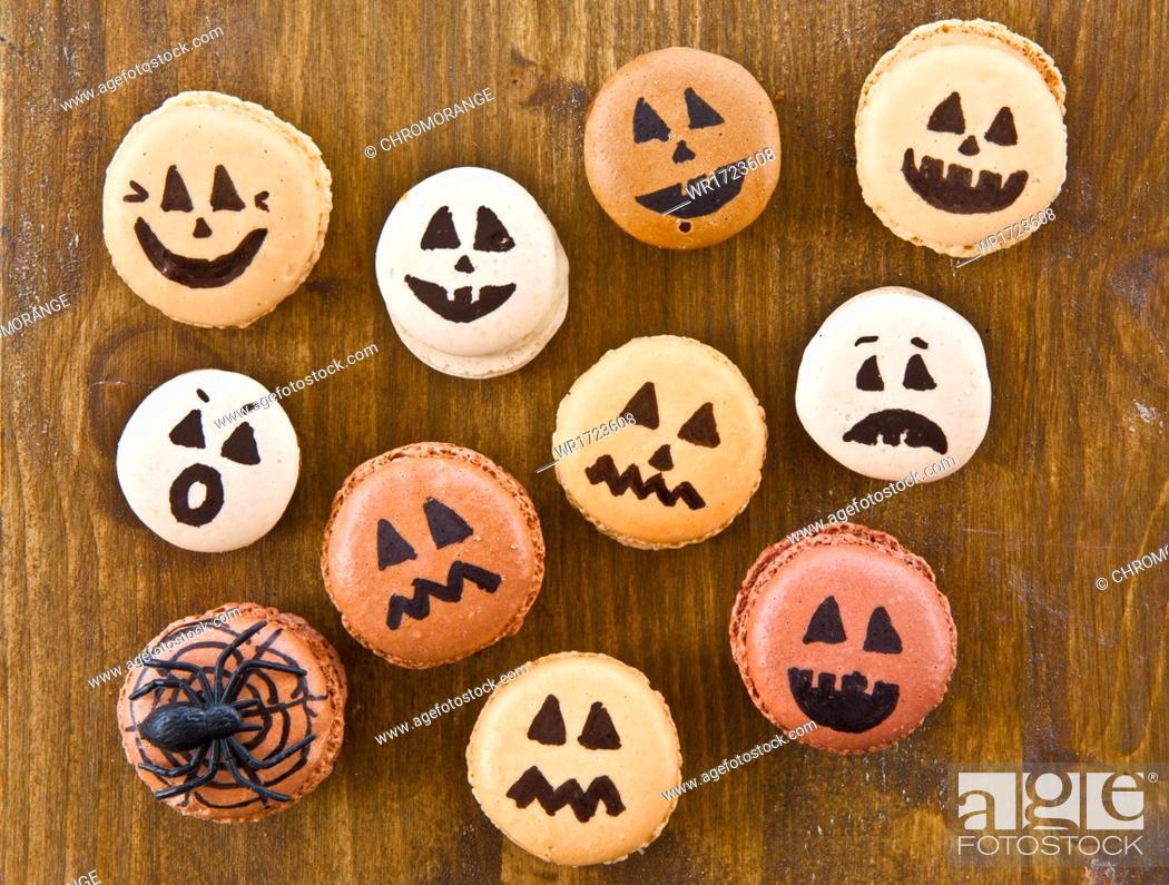 Stock Photo: Halloween macaroons.