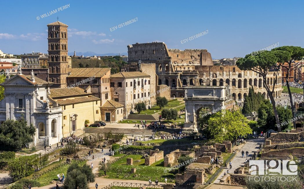 Stock Photo: Ancient Forum Titus Arch Roman Colosseum Rome Italy Colosseum built in 72 AD. Titus Arch built 81 AD.