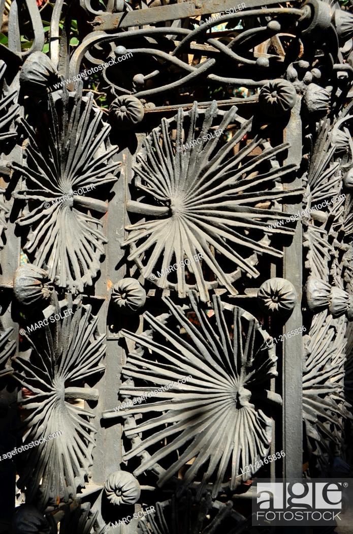 Photo de stock: Detail of wrought work. Vicens House 1878-1880 by Antoni Gaudi. Barcelona, Catalonia, Spain.