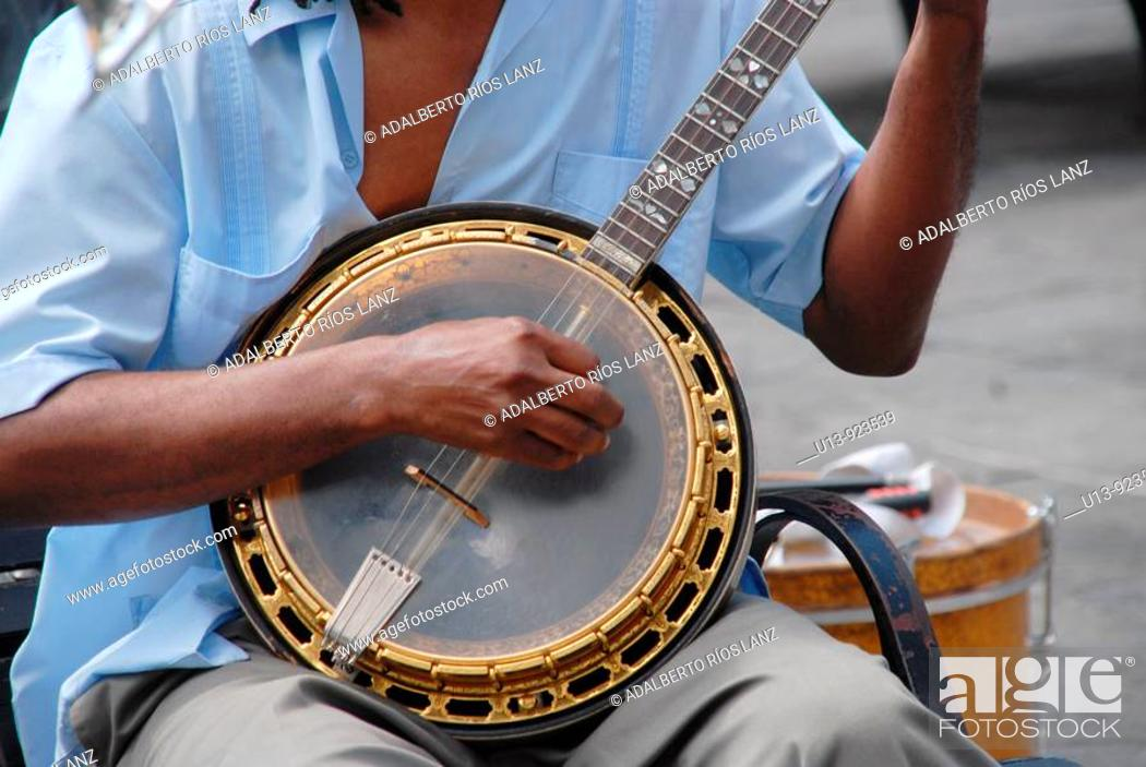 Stock Photo: Banjo player, jazz, musician at Jackson Square, French Quarter, New Orleans, Louisiana, USA.