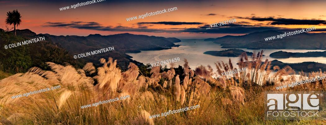 Imagen: Lyttelton harbour, pre dawn panorama from Port Hills, Christchurch, Canterbury.