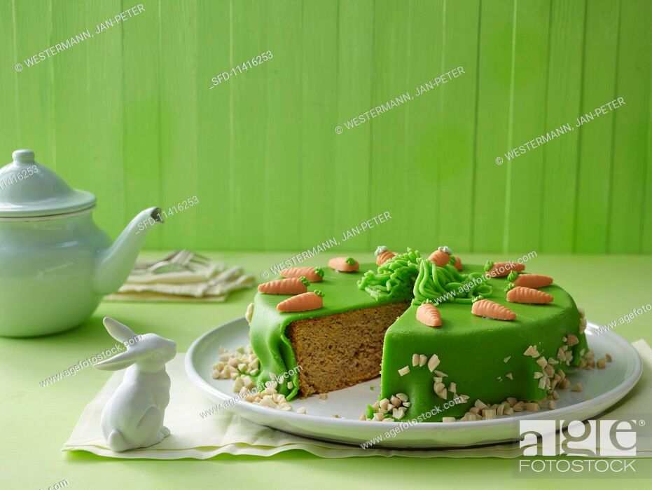 Stock Photo: Carrot cake for Easter.