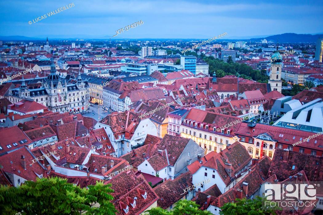 Stock Photo: Aerial view, at left City Hall on Hauptplatz, at right Franciscan Church, Graz, Austria.