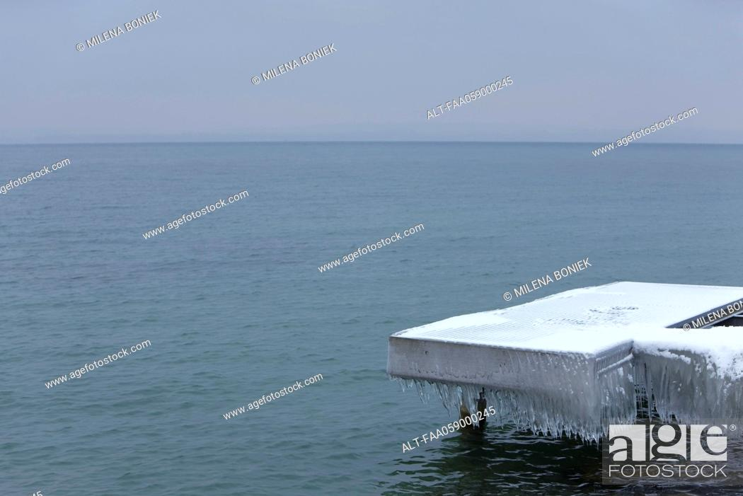 Stock Photo: Dock covered in ice and snow.