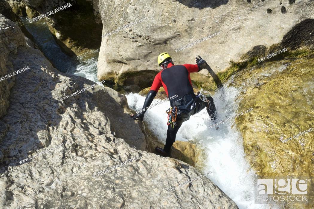Stock Photo: Canyoning in Gorgonchon Canyon, Guara Mountains, Huesca Province, Aragon, Spain.