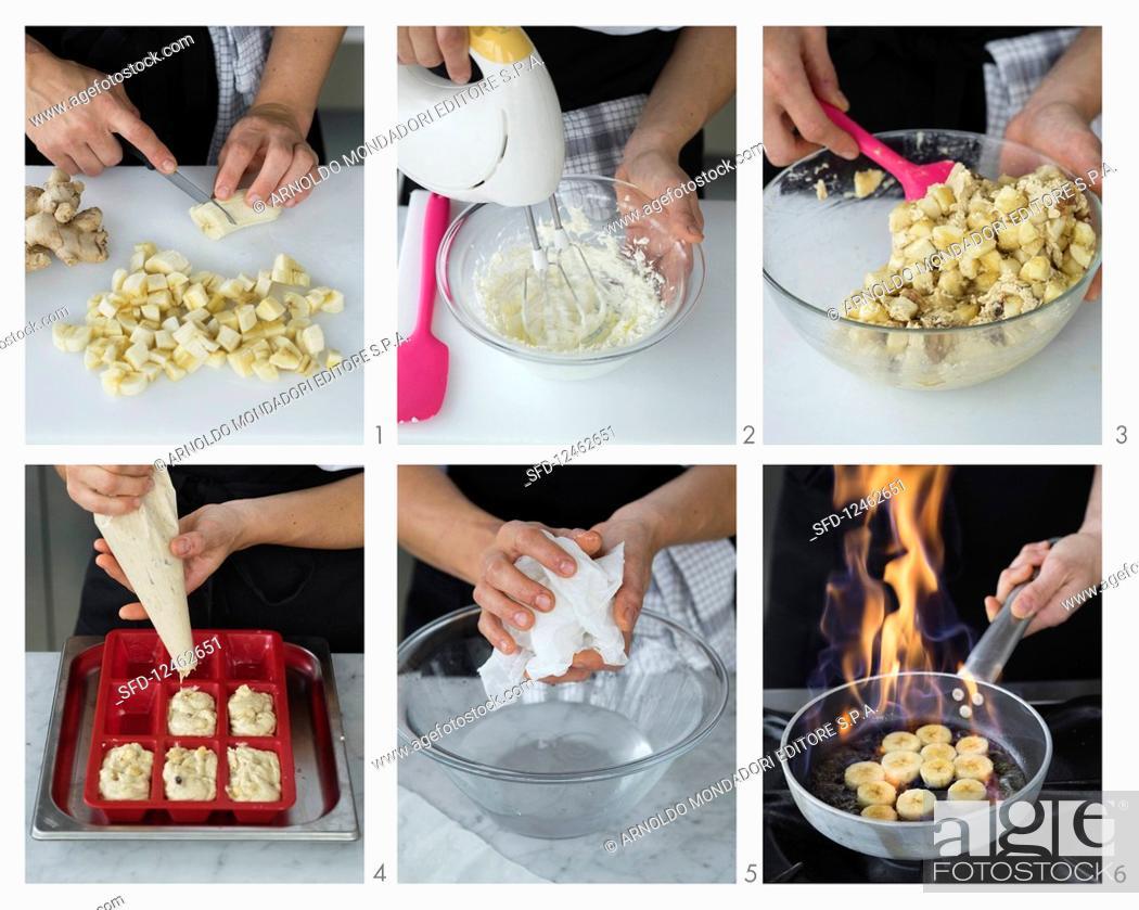 Stock Photo: Preparing small Banana and Walnut Breads.