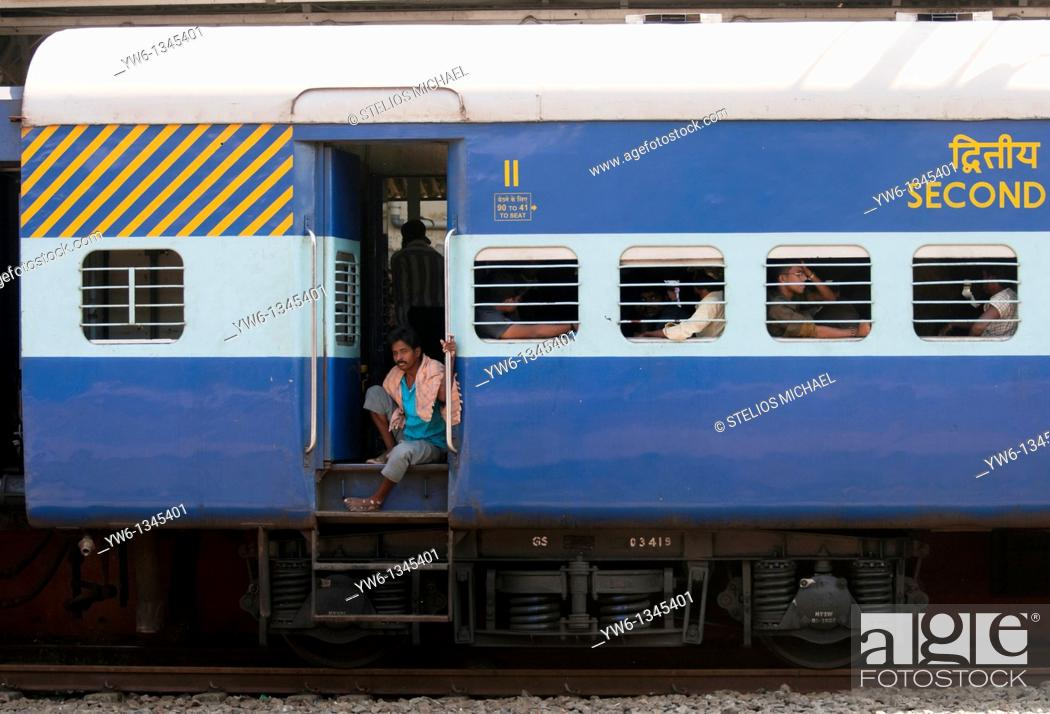 Stock Photo: Close up of Second Class Railway Carriage at Ernakulam Station,Cochin,India.