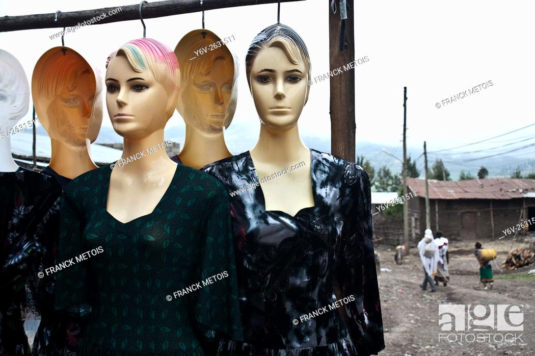 Stock Photo: Shop mannequins outside a clothes store. At Korem ( Tigray state, Ethiopia).