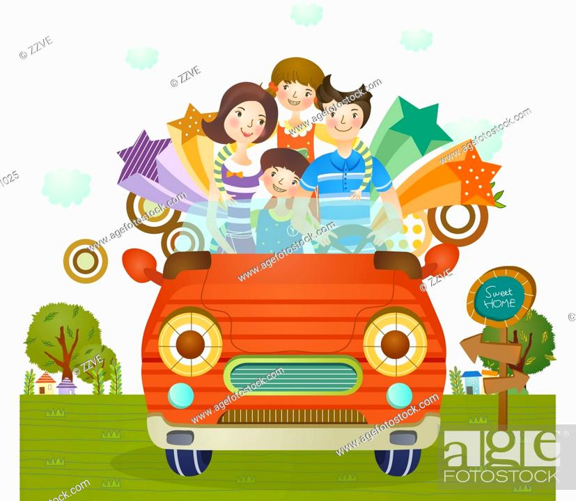 Stock Photo: Portrait of family on drive.