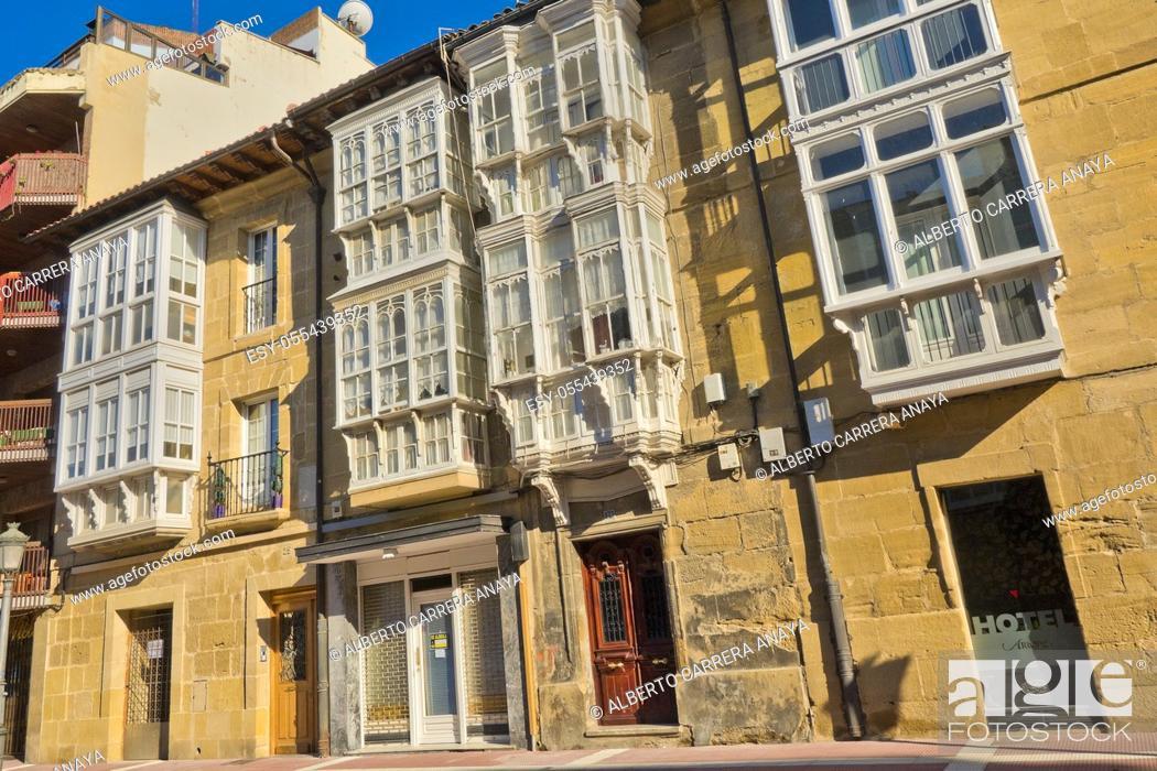 Stock Photo: Typical Architecture, Street Scene, Haro, La Rioja, Spain, Europe.