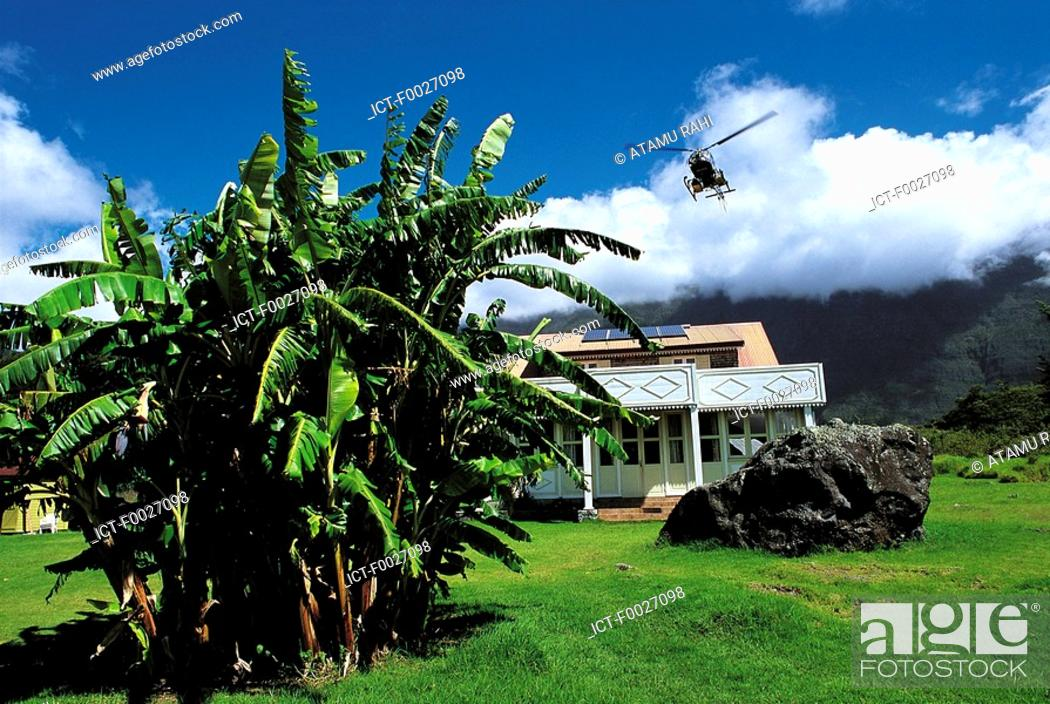 Stock Photo: Reunion, Mafate cirque, house with helicopter landing.