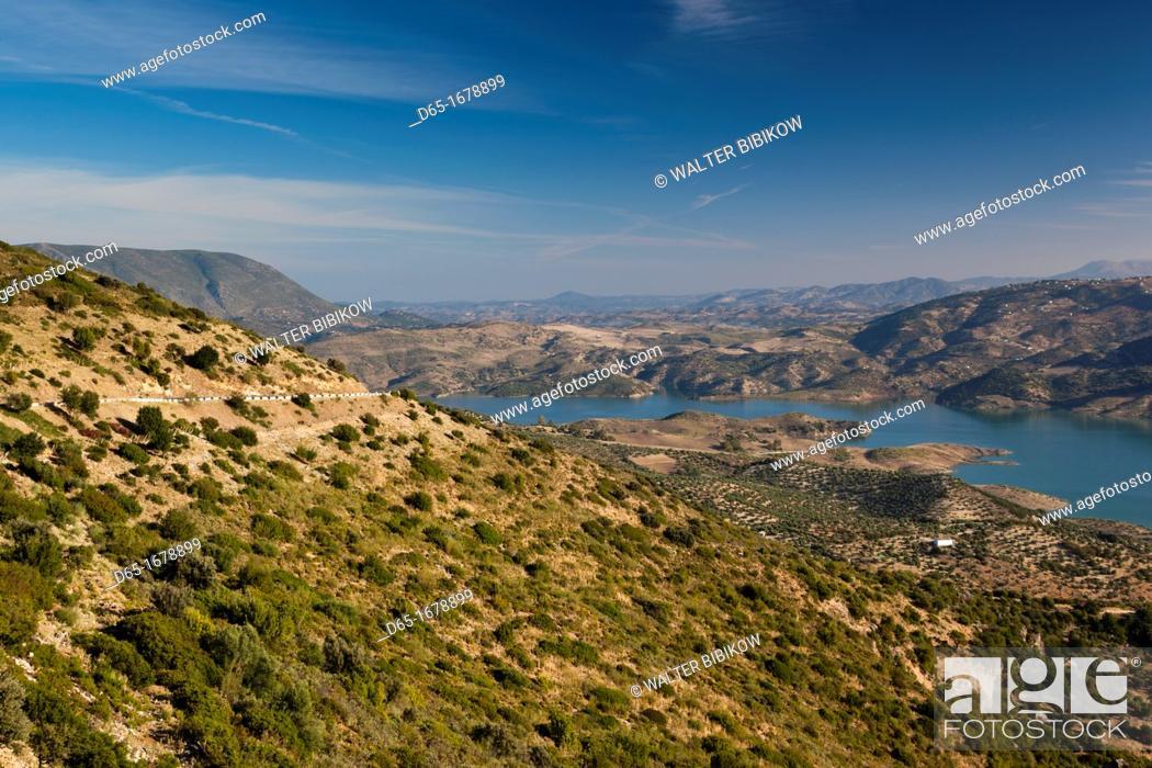 Stock Photo: Spain, Andalucia Region, Cadiz Province, Grazalema-Zahara de la Sierra, Sierra Margarita mountain landscape, morning.