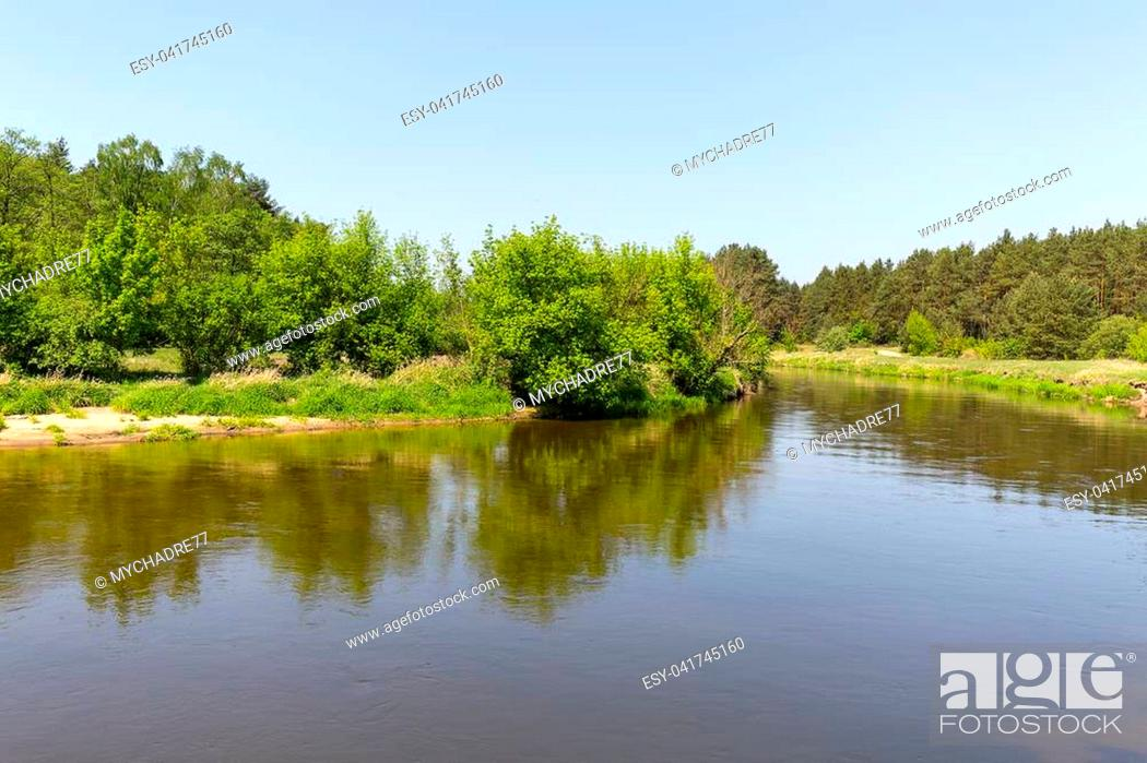 Stock Photo: Lowland Nida river, landscape of the Nida Valley, Poland.
