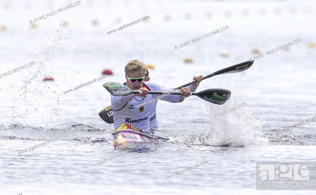 Stock Photo: Winner Max RENDSCHMIDT (front) and Max LEMKE (GER), 1st place, action K2 M 500 Final A, on 01.06.2018 Canoe ICF World Cup Duisburg from 31.05. - 02.06.