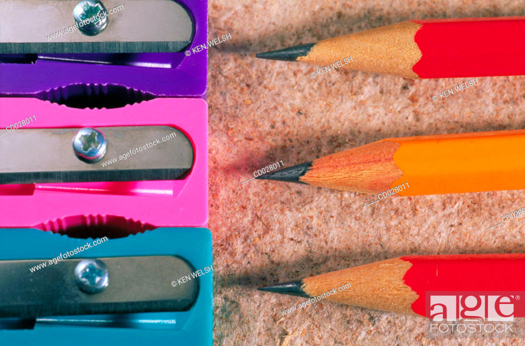Stock Photo: Pencils and sharpeners.